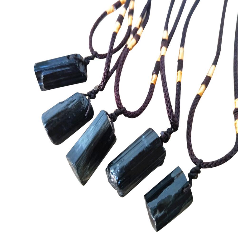 1 шт. натуральный с украшением в виде кристаллов Черный турмалиновым каменем кулон ожерелье проводной очарование камень из черненого метал...