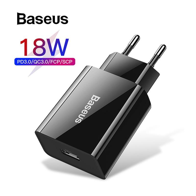 Cargador USB rápido Baseus 18W PD 3,0 para iPhone 11 XR Xs Mini cargador de teléfono con Carga rápida 3,0 FCP para Huawei P30 Pro Xiaomi