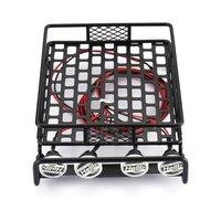 RC Auto Universal Dach Rack Gepäck Träger Mit 4 Runde Led leuchten 1/10 RC Rock Crawler Axial SCX10 D90 TRX 4-in Teile & Zubehör aus Spielzeug und Hobbys bei