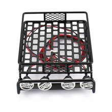 RC Car Universal Roof Rack Luggage Carrier With 4 Round LED Lights 1/10 RC Rock Crawler Axial SCX10 D90 TRX-4 injora roof rack luggage carrier controllable light bar for 1 10 rc crawler rc4wd d90 land rover axial scx10 jeep scx10 ii 90046