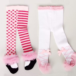 Cute Baby Girl Tights Soft Cotton Lace Bowknot Pantyhose Autumn Winter Girl Clothes Striped Newborn Toddler Tights Stockings