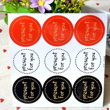 90pcs/pack Present For You Red, White And Black Adhesive Baking Gift Sealing Stickers 90pcs pack for you candy color sealing sticker stationery gift bakery stickers cookies label supply