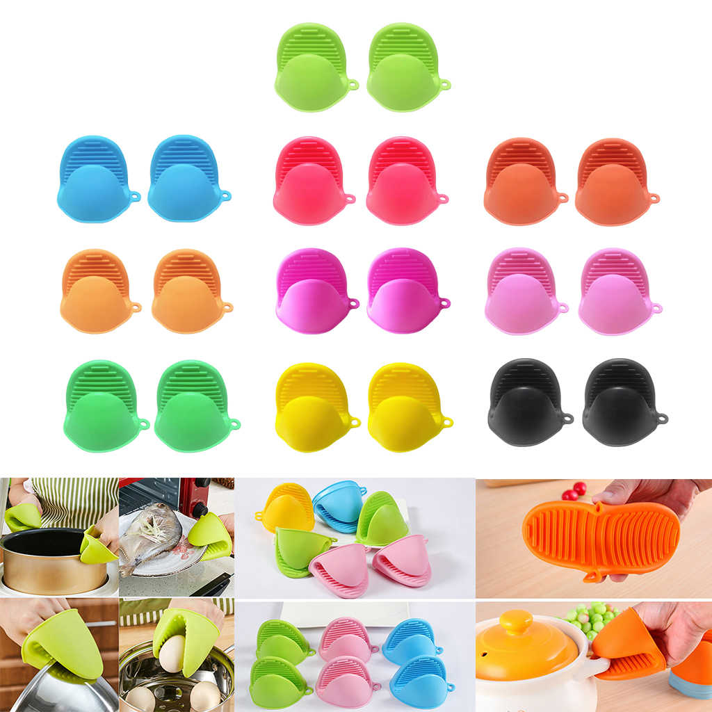 Kitchen Cooking Silicone Microwave Gloves Pot Holder Oven Mini Mitt Non-slip Pinch Gripper,Pack of 2