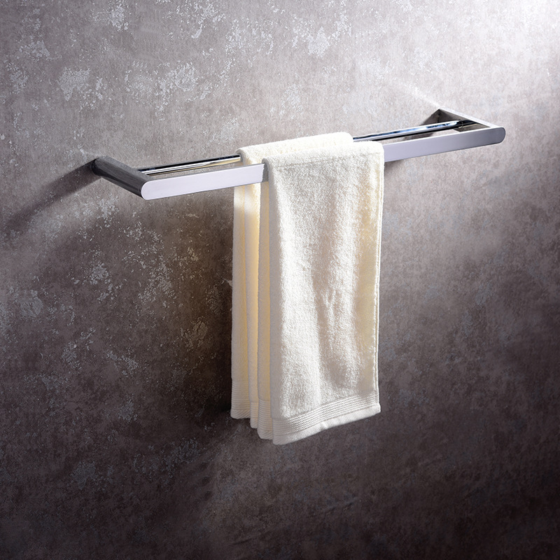 Hideep Bathroom Hook Unit Copper Double Bar Towel Rack Bathroom Thick Wall-Mounted Towel Rack Double Poles Manufacturers Direct