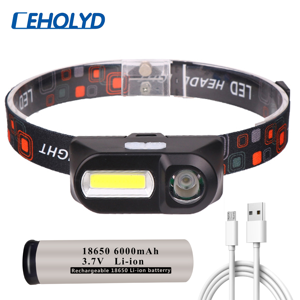 Mini COB LED Headlight Headlamp Head Lamp Flashlight USB Rechargeable 18650 Torch Camping Hiking Night Fishing Light