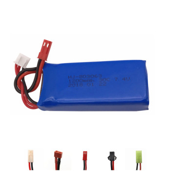Lipo Battery 7.4v 1200mAh 2S 30C For Yizhan Tarantula X6 H16 WLtoys V666 V262 V323 Helicopter Quadcopter Drone spare part 1pcs image