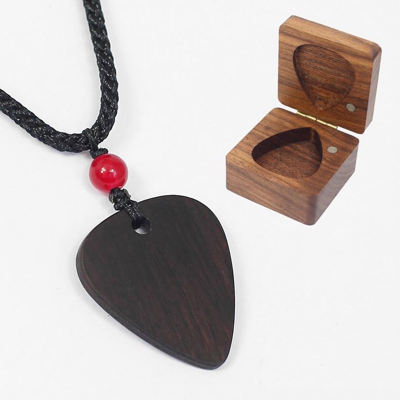Sandalwood Manual Solid Wood Guitar Pick Necklace Pick Pendant Plectrum Necklace Wood