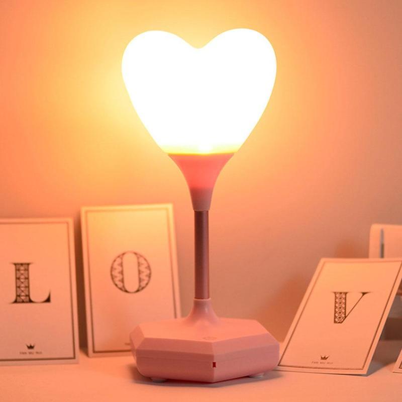 1 шт. ночник с сердечком романтическая атмосфера прикроватный светодиодный светильник 1200 мАч USB подзарядка подарок на день Святого