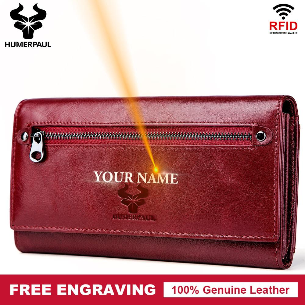 Free Engraving 100% Genuine Leather Women Wallet Coin Purse Long Card Holder Clutch Lady PORTFOLIO Portomonee Red Handy Pocket