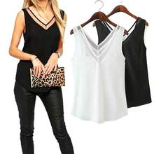 Summer 2019 Fashion Hot Sales Chiffon Slim Loose V-Neck Sleeveless Vest Shirt Blouse Tops For Women Girls SMA66