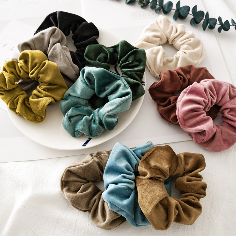 Woman Velvet Scrunchies Solid Hair Ring Ties For Girls Ponytail Holders Rubber Band Elastic