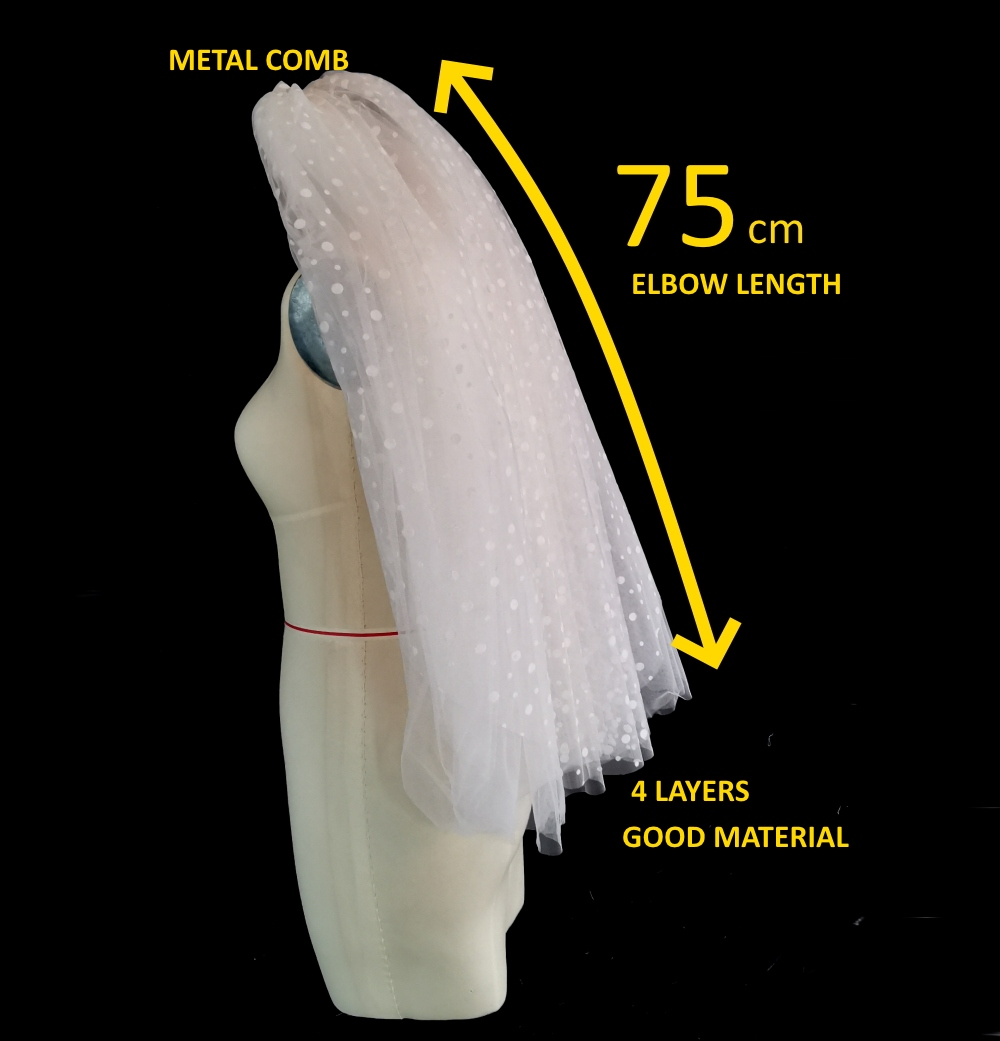 4 Layers Good Quality Bridal Veil Headpiece Real Photo Factory Price