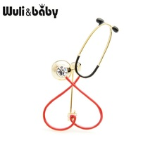 Wuli&baby Rhinestone Red Heart Stethoscope Brooches Women Men Personality Hospital Doctor Brooch Pins