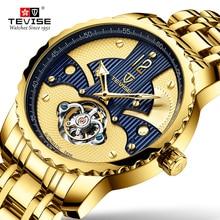 лучшая цена Tevise Men's Automatic Mechanical Watches Men Tourbillon Skeleton Luxury Brand Waterproof Gold Male Wristwatch Relogio Masculino