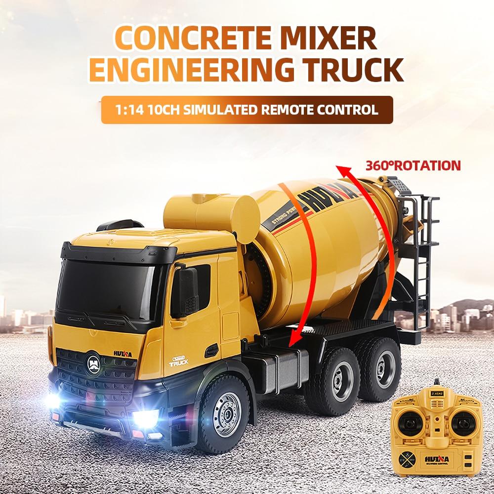 HUINA 1574 1:14 Liga Caminhão do Misturador Concreto Caminhão Engenharia de Controle Remoto Luz Veículo de Construção de Brinquedos para Crianças Presente