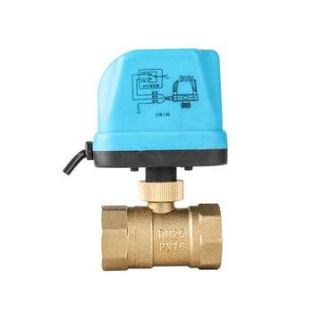 Válvula de bola motorizada 2 vías AC220V DN15 DN20 DN25 DN32 DN40 DN50 Válvula de Control eléctrica para sistema HVAC, dos cables de tres cables de control