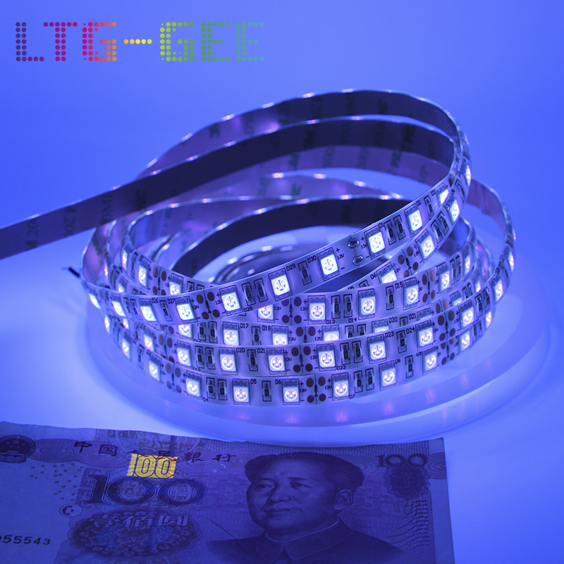 LTG-GEE <font><b>UV</b></font> <font><b>Led</b></font> <font><b>Strip</b></font> light 5050 SMD 60leds/m 395-405nm Ultraviolet Ray <font><b>LED</b></font> Diode Ribbon Flexible Tape lamp for DJ Fluorescence image
