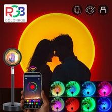 colorRGB, Phone app control, Sunset lamp Projection,180 Degree Rotation Sunset Night Light, Romantic Sunset Rainbow light