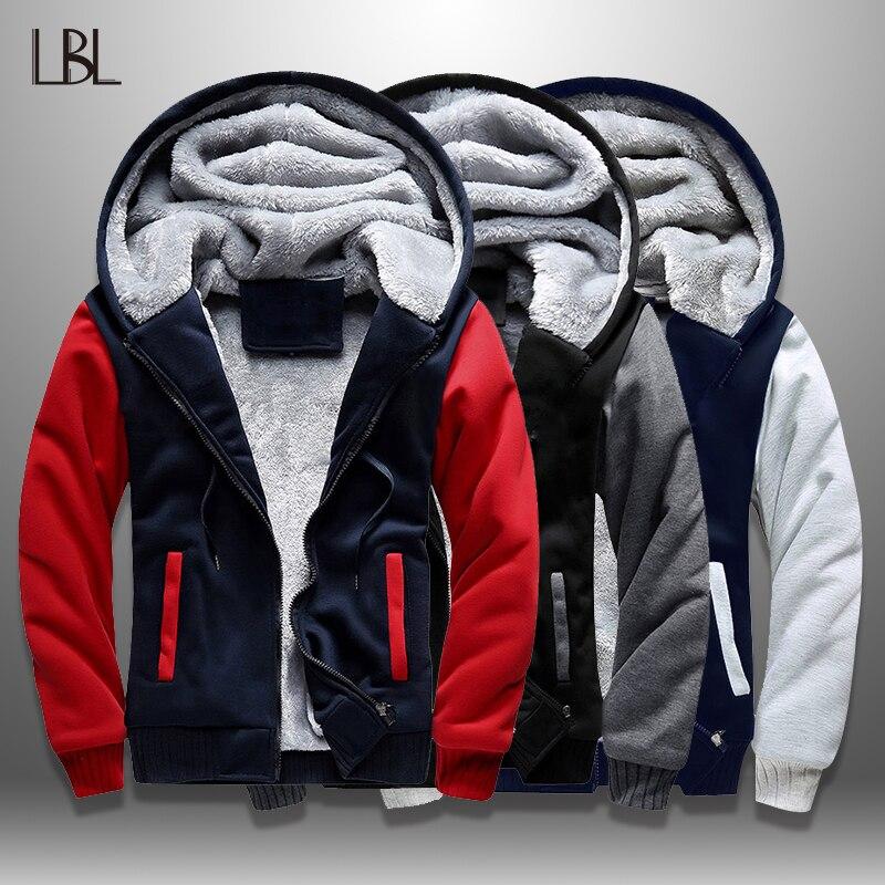 LBL Casual Mens Fleece Warm Hoodies Winter Outwear Thicken Jacket Men Slim Fit Zipper Hooded Hoody Man Streetwear Tracksuit Male