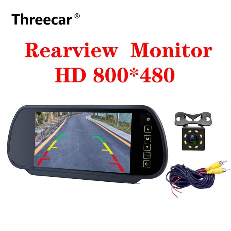 Sistema de aparcamiento inverso para coche, pantalla LCD TFT de 7 pulgadas, espejo retrovisor con cámara de visión nocturna opcional