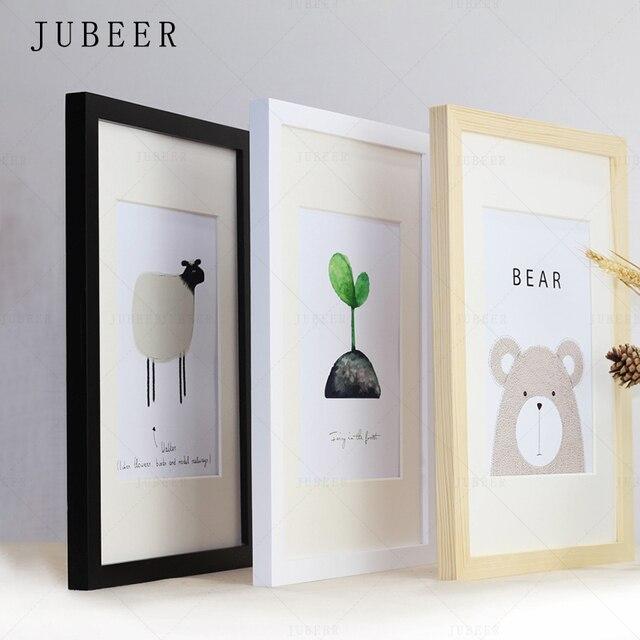 Скандинавские простые деревянные рамки А4 А3 черно-белые цветные рамки для фотографий для стен фоторамки настенные фоторамки домашний деко...