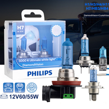 Philips H7 галогенная H4 H3 H1 H11 H8 HB3 HB4 9005 9006 12V Diamond Vision 5000K Окончательный белый свет фар автомобилей аксессуары комплект из 2 предметов