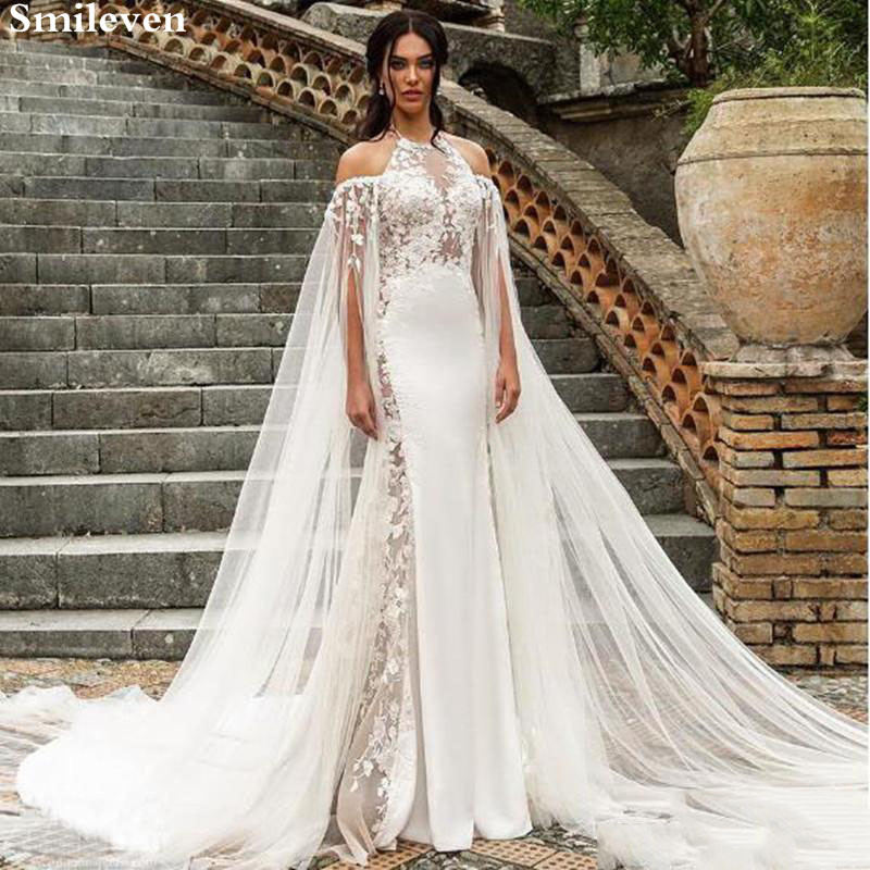 Smileven Halter Wedding Dress Mermaid Boho 2020  Appliques Lace Bridal Gowns Robe De Soriee Turkey Wedding Gowns