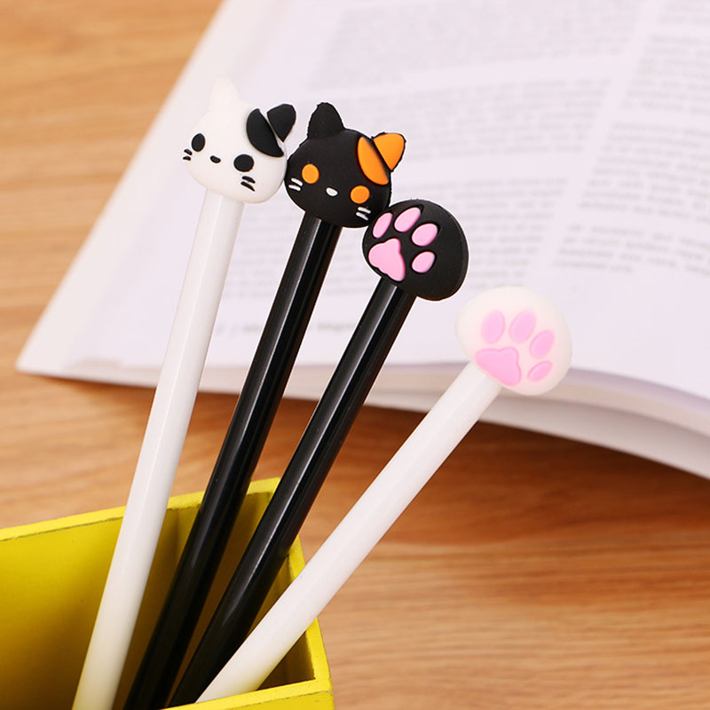 1 PC Creative Cute Cat Animals Gel Pens Students Writing For School Pen Kawaii Office Sign Pen Colored Stationary Pen 040243