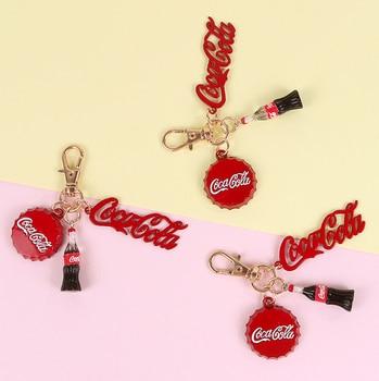 Nuevo llavero bonito de botella de Coca Cola, genial tapa de coca, bolso con cadena, llavero colgante, estudiante, regalo de San Valentín