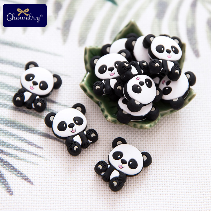 10PC Silicone Teether Beads Panda Lion DIY Pacifier Chain Necklaces Pendant Bite Chew Bite Chew Rodent For Teething Kids Goods