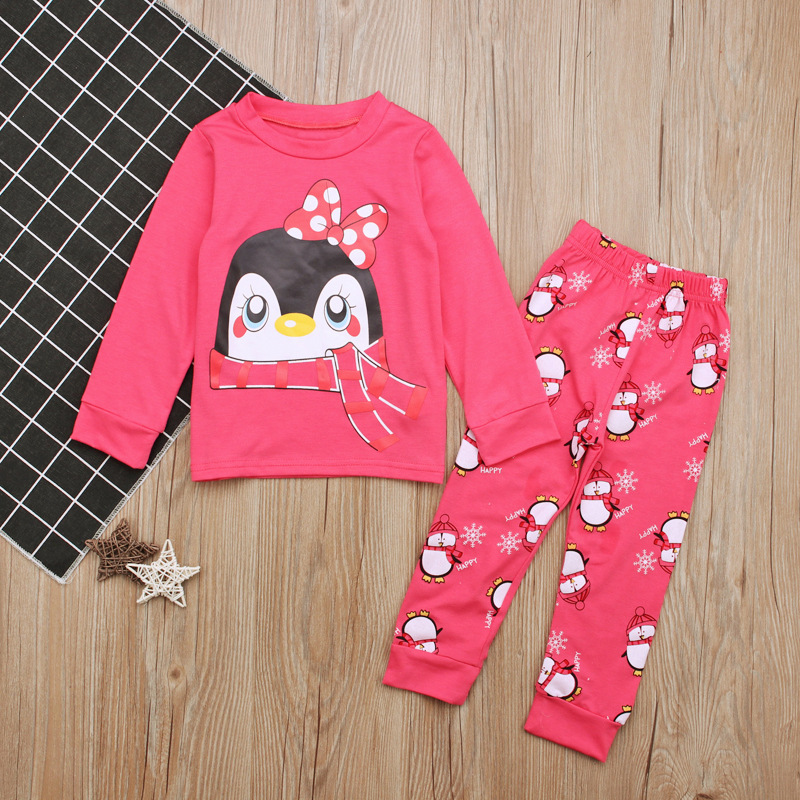 Children Europe And America Spring And Autumn-Girls Penguin Long-sleeved T-shirt + Trousers Piece Tracksuit CHILDREN'S Suit INS