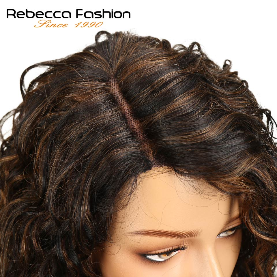 Rebecca Water Wave Human Hair Lace Wigs For Black Women L Part Peruvian Remy Hair Natural Wave Lace Wig 16 Inch Free Shipping