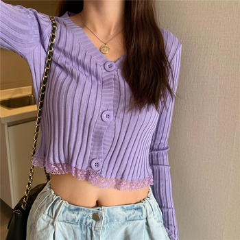 Black White Pink Purple Sexy Cardigan Crop Top Streetwear Short Knitted Sweaters Women Lace Patchwork Striped Long Sleeve Tops lace ruffle short crop top long sleeve hollow out black slim sexy backless korean spring white pink cardigan shirt women blouse