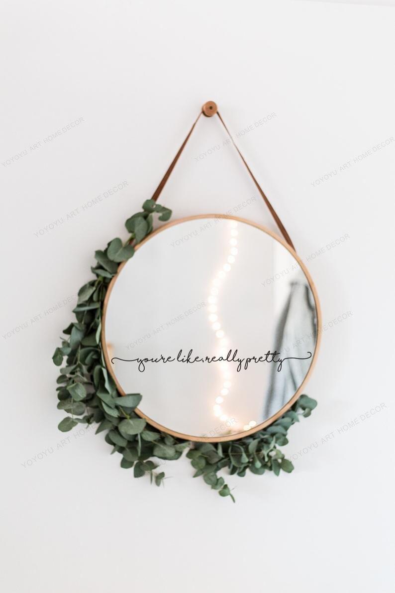Вы как действительно красивая Цитата Наклейка на стену зеркальный стикер зеркальный Декор ванная комната художественная роспись HJ1041|Наклейки на стену|   | АлиЭкспресс - Декор