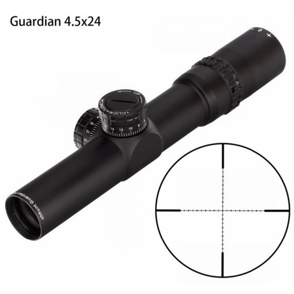 Hunting  Guardian 4.5x24 Rifle Scope 30mm Tube Tactical Optics Sight 1/2 Half Mil Dot Reticle Turrets Reset Riflescope