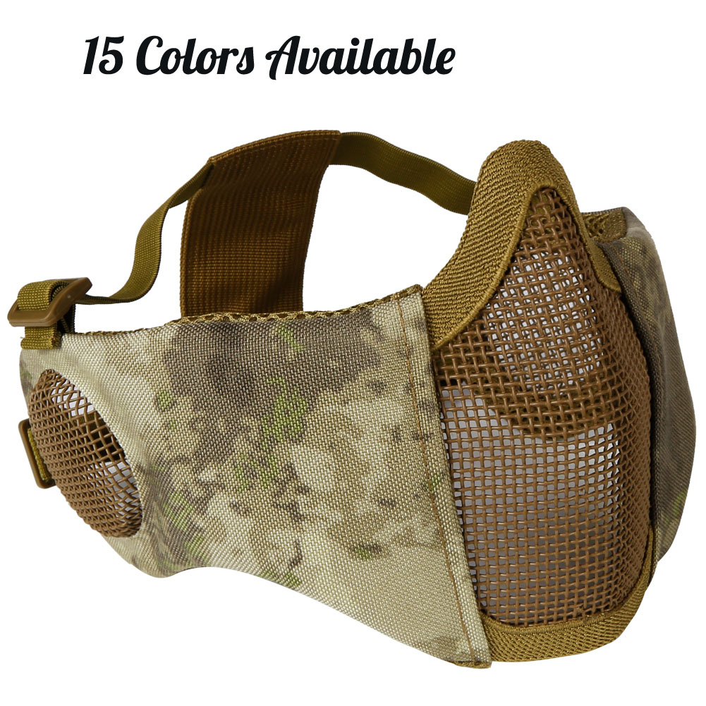 Tactical Foldable Mesh Mask With Ear Protection Tactical Paintball Mask Low-carbon Steel Mesh Breathable Half Face Masks