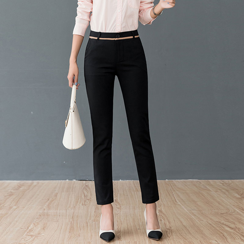 Women Pants Fashion Spring High Waist Office Lady Trousers Workwear Ankle-length Casual Woman Stretchy Slim Pencil Pants 2020