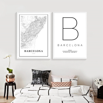 Barcelona Map Print Spain Espana Latitude And Longitude Poster Modern Canvas Painting Black White Picture Office Wall Art Decor image