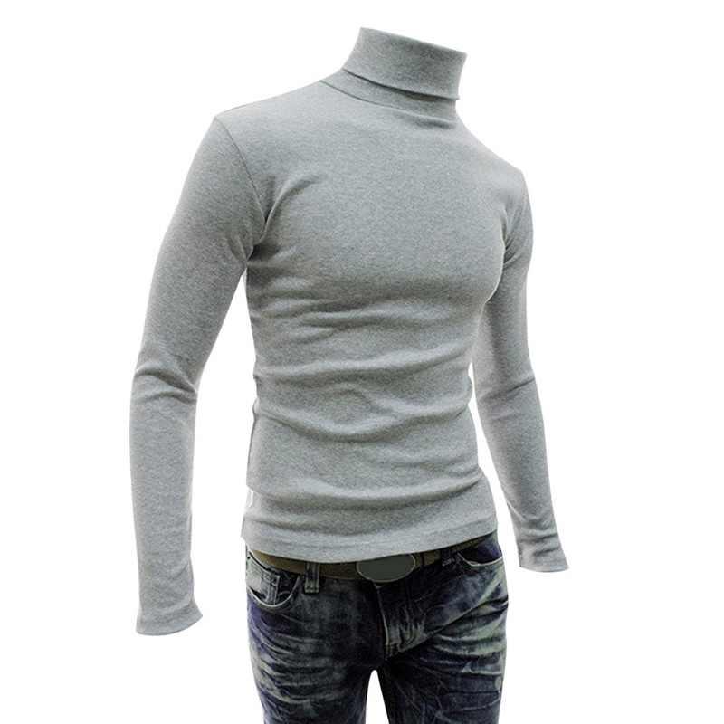 2018 가을/겨울 신사복 하이 칼라 스웨터 풀오버 셔츠 긴 소매 솔리드 컬러 남성 슬림 풀오버