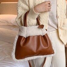 Fashion Lamb Cashmere Women Handbgs Designer Plush Shoulder Bags Luxury Pu Leather Crossbody Bag Large Capacity Totes Lady Purse