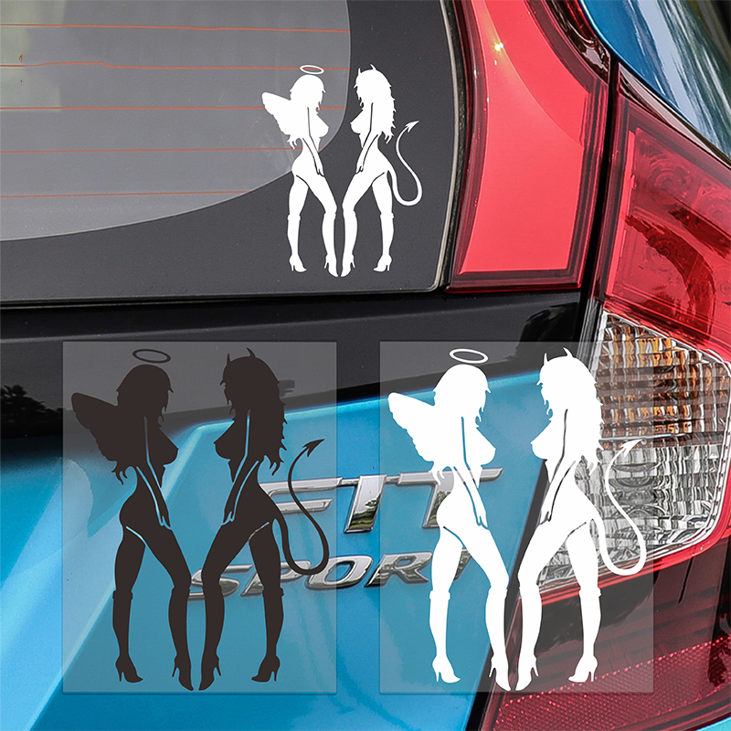 Hot Classic <font><b>Sexy</b></font> Girls Sticker Anger Devil Beauty <font><b>16</b></font>*11cm White Car Decal Fashion car styling Stickers Aug 4 car <font><b>accessories</b></font> image