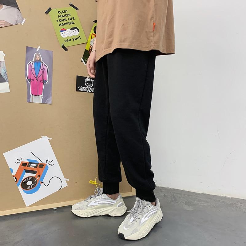 Cotton Sweatpants Men's Fashion Solid Color Casual Joggers Pants Men Streetwear Wild Loose Straight Trousers Mens Track Pants