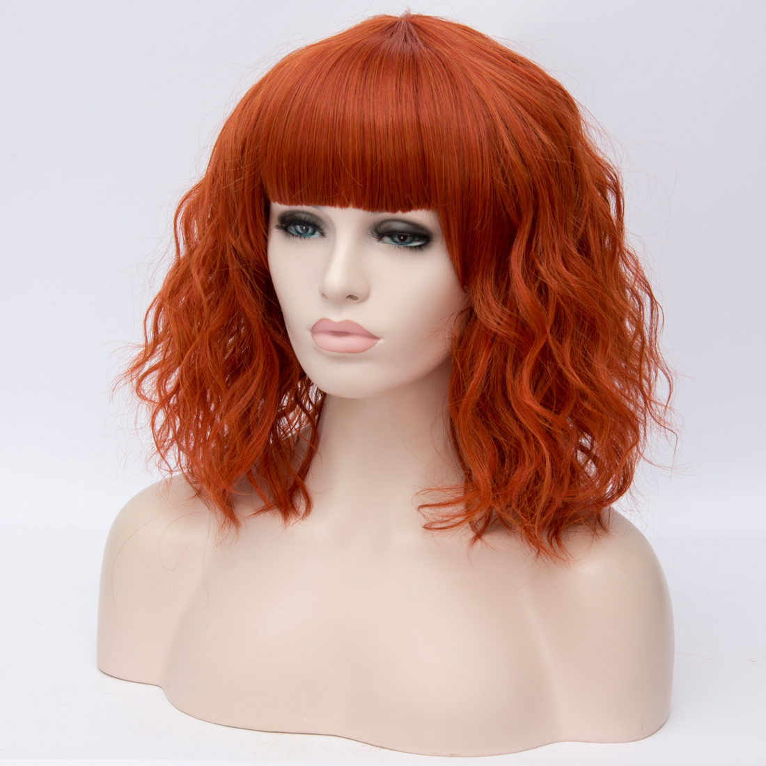 He3dbb40e2fc4464c830b6ebae21e8d0f4 - Similler Short Synthetic Wig for Women Cosplay Curly Hair Heat Resistance Ombre Color Blue Purple Pink Green Orange Two Tones