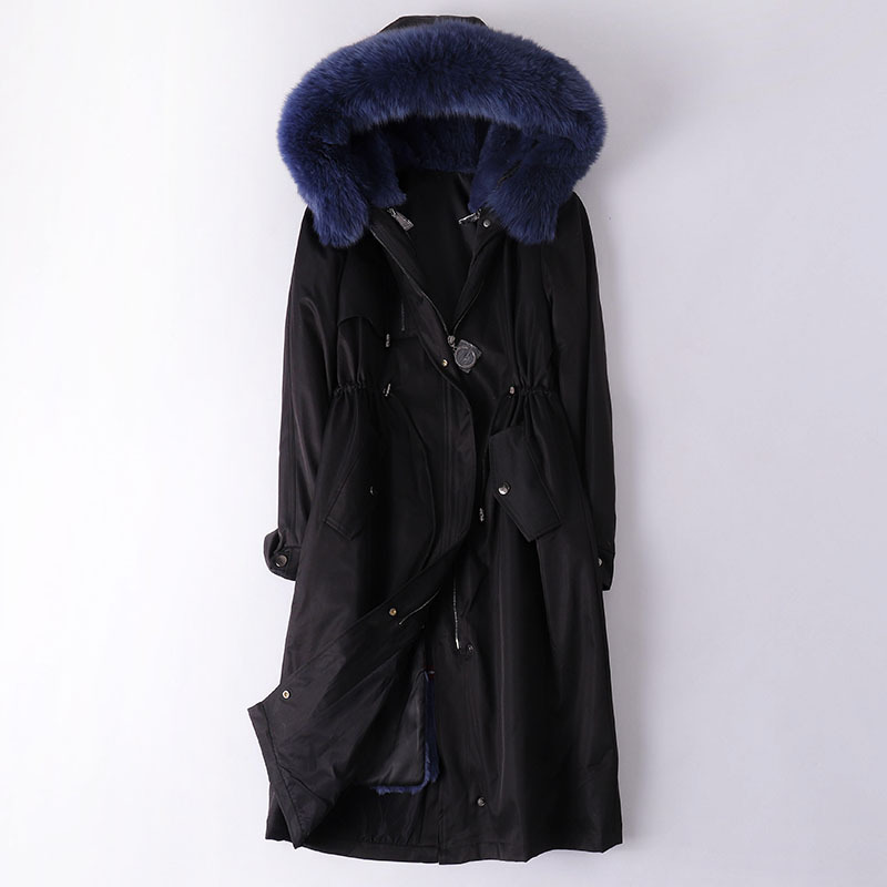 Women's Fashion Parka Winter Outwear Fox Fur Collar Thicken Coat Female Rabbit Fur Liner Long Down Jacket 7 Colors image
