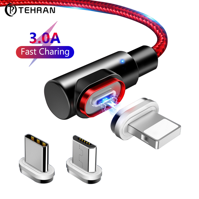 Tehran 3.0A Fast Magnetic Cable for iphone Samsung Fast Charging Data Wire Cord Magnet Charger Usb Type C Mobile Phone Cable Mobile Phone Cables    - AliExpress