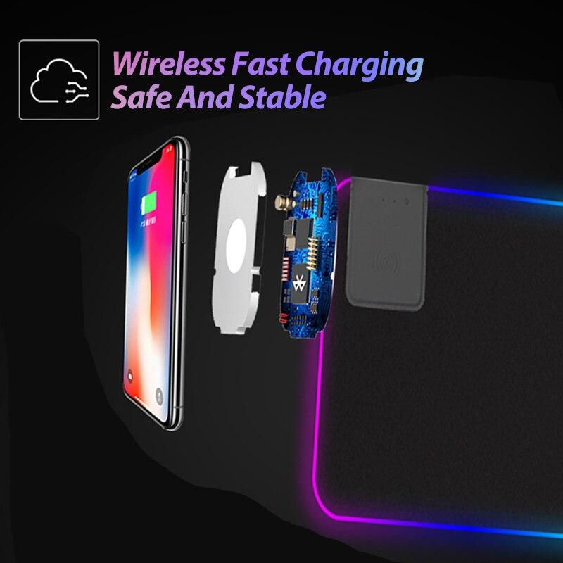 Игровой коврик для мыши RGB большой коврик для мыши геймер большой коврик для мыши компьютерный коврик для мыши светодиодная подсветка коврик для мыши с беспроводным зарядным устройством