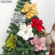 Йориу Искусственные Рождественские цветы, искусственные цветы, Рождественские елочные украшения для дома, Рождественский орнамент