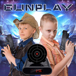 Image 5 - אקדח שעון מעורר גאדג ט יעד לייזר לירות לצריבה דיגיטלי אלקטרוני שולחן שעון שולחן שעון מצחיק שעון נודניק לילדים