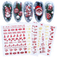 1 Chiếc Giáng Sinh Miếng Dán Móng Tay 3D Đỏ Vàng Thanh Trượt Chữ Kim Loại Đề Can Hươu Bông Tuyết Len Tự Làm Móng Tay Nghệ Thuật Thiết Kế BESTZG041 049