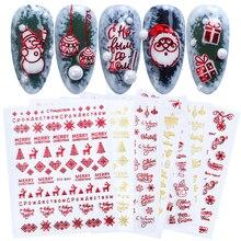 1 stücke Weihnachten Nail Sticker 3D Rot Gold Sliders Metall Buchstaben Decals Deer Schneeflocke Wraps DIY Nail art Design BESTZG041 049
